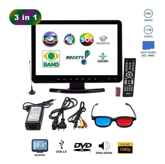 Tv 15,4 Digital Ideal P/ Cozinha Ou Pequenos Ambientes C/dvd