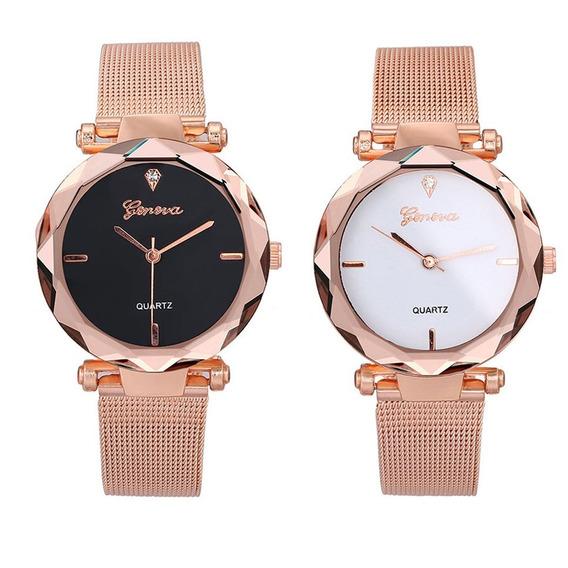 Quartz Relógio De Pulso Relógio Malha Cinta Para Mulheres Ho