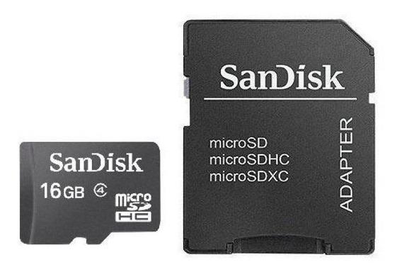 Cartão De Memória Micro Sd-hc Sandisk 16gb 2x1