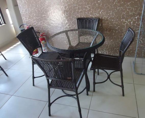 Jogo De Mesa 4 Cadeira Para Varanda, Sacada,jardim.