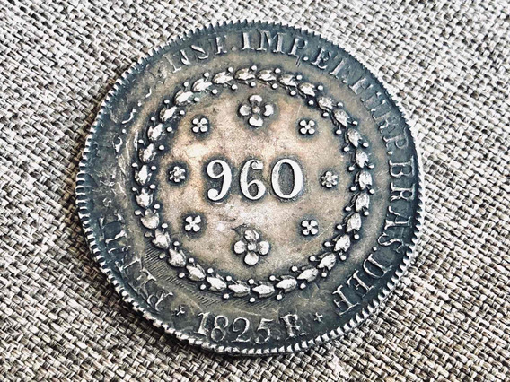 Rara Moeda 960 Réis Patacão 1825 R Reverso Inclinado Prata
