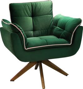 Poltrona Decorativa Giratória Veludo Verde Comodoro