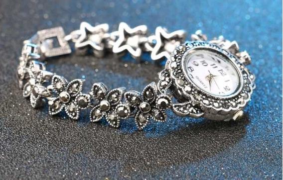 Relógio Com Marcassita E Prata Antiga Retro