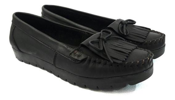 Mocasin Cuero Mujer Chatita Zapato Confort Goma