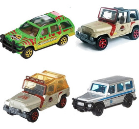 4 Carros Jurassic Park World Matchbox Kit Veículos Coleção