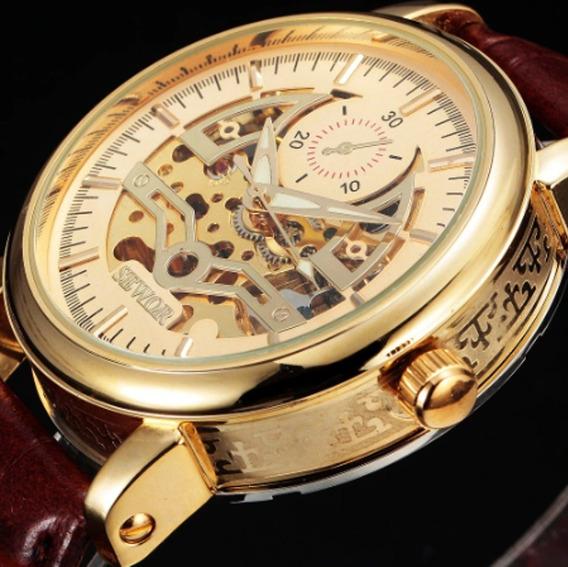 Relógio De Pulso Mecânico Sewor Prateado Aço Inoxidável