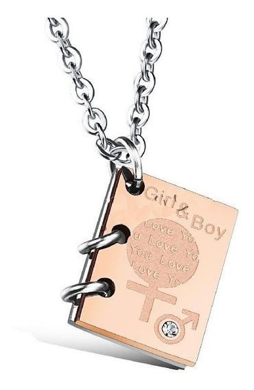 Cadena Con Libro Grabado Girl And Boy Acero Quirurgico