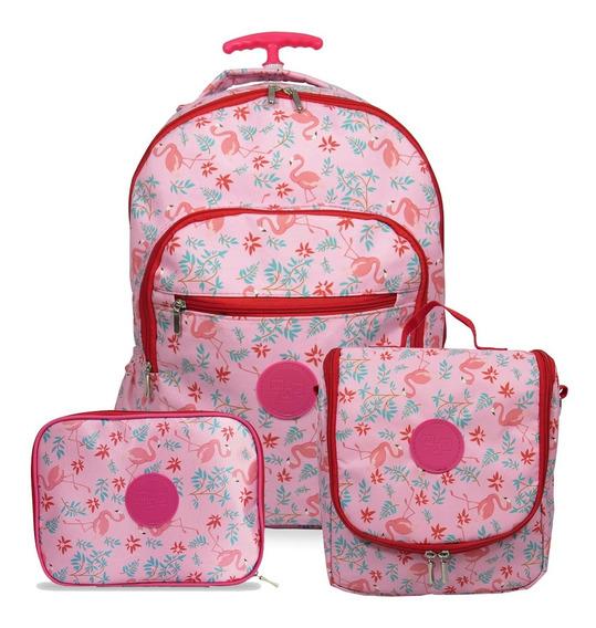 Kit Mochila Escolar Feminina De Rodinhas Flamingo
