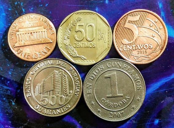Monedas De Am,érica 14 Paraguay, Usa Y Otros Países