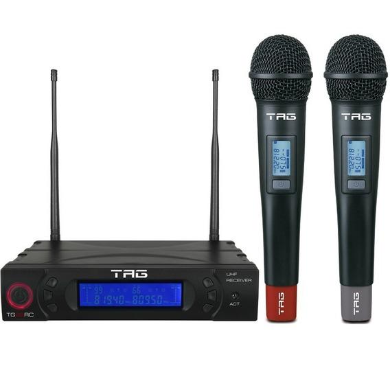 Microfone Duplo Tagima Tag Sound | Tg8802 | Sem Fio | Uhf