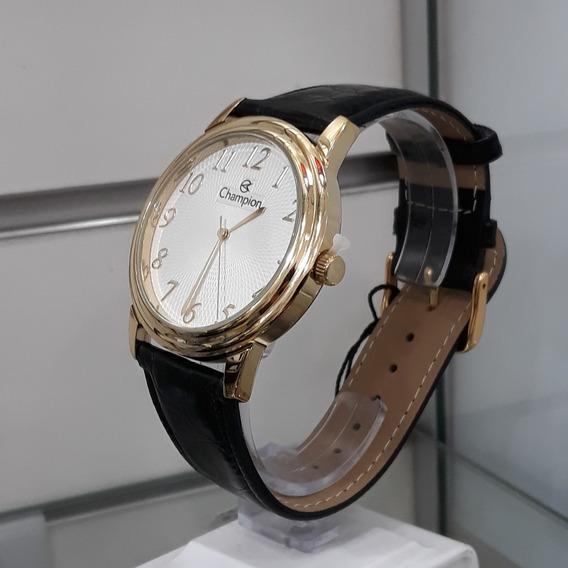 Relógio Masculino Champion Ch22760q Cromado Pulseira Couro