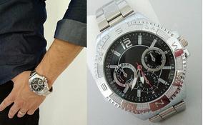 Relógio Masculino Cromado Elite Promoção Pesado Luxo Barato