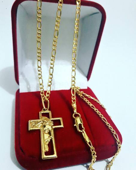 Corrente Cartier Banhados A Ouro 18k Crucifixo Face De Jesus