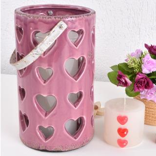 Lanterna Luminária Grande Cerâmica Rosa Vazada Corações