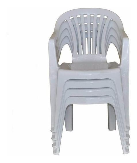 Cadeira Poltrona De Plastico C/ Apoio De Braço Emb. C/ 04 Pç