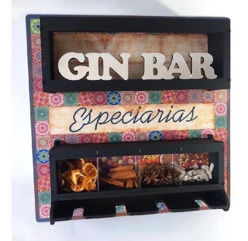 Imagem 1 de 5 de Barzinho Com Porta Taças E Suporte P/ Especiarias P/ Gin Gim