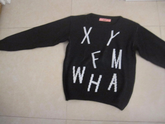 Sweater Muaa 2/42 Negro Con Detalles Blancos Poco Uso