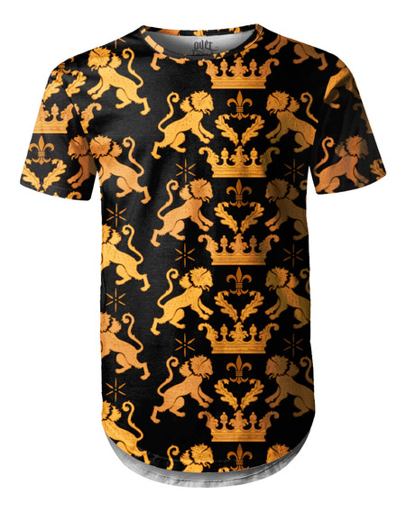 Camiseta Masculina Longline Swag Leão Real Estampa Digital