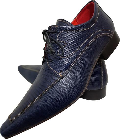 Sapato Masculino Em Couro Azul Frisado Cod. 717