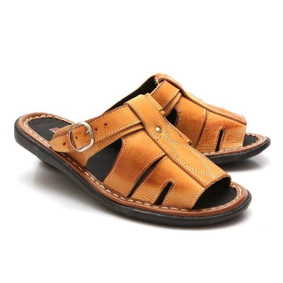 Sandalia Chinelo De Couro Masculino Macia Preço Baixo