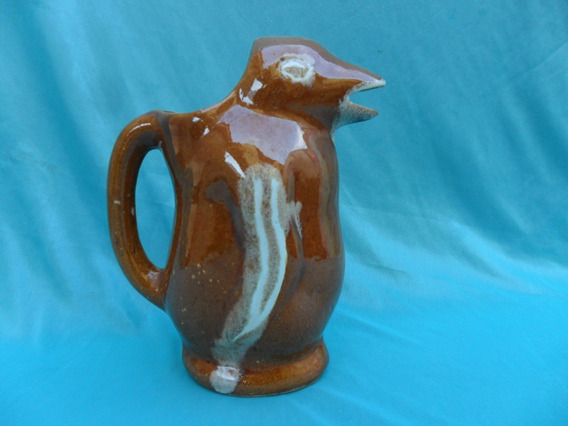 Antigua Jarra Vino Pinguino Ceramica Loza Retro