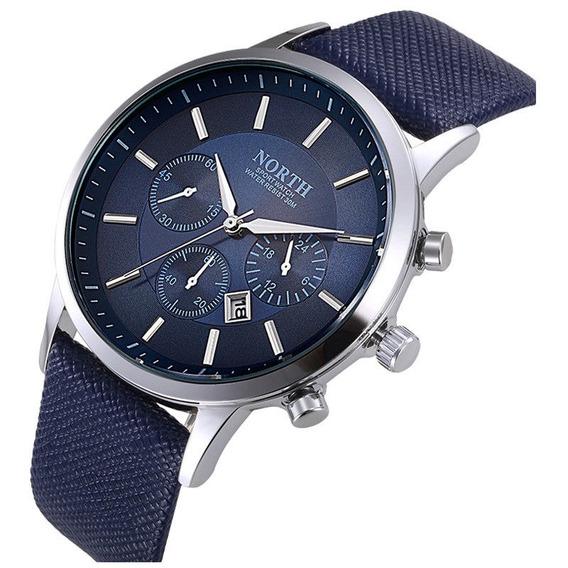 Relógio Masculino Pulso North Azul Esportivo Analógico
