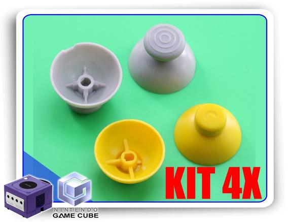 Kit 4x Reparos Caps Cinza E Amarelo Controle Gamecube