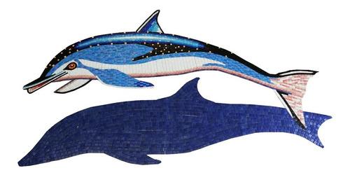 Imagen 1 de 6 de Mosaico Veneciano Delfin Moteado De 1.25 Mts Con Sombra Para Alberca