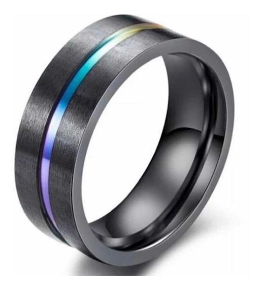 Anel Tungstênio Rainbow 8mm
