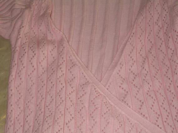 Saco Abierto Saquito Hilo Rosa Caladi Sweater Pullover Mujer