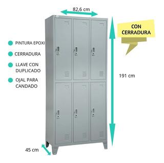 Lockers Metálicos 6 Ptas - Pintura Epoxi - C/cerradura Stock