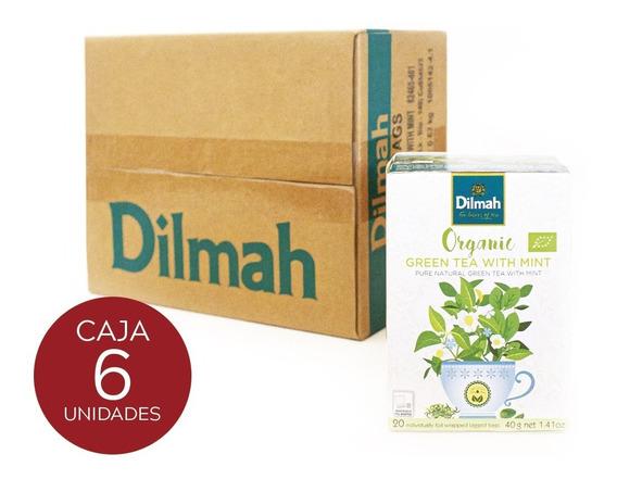 Té Verde Dilmah Orgánico Con Menta Caja 6 Unidades.