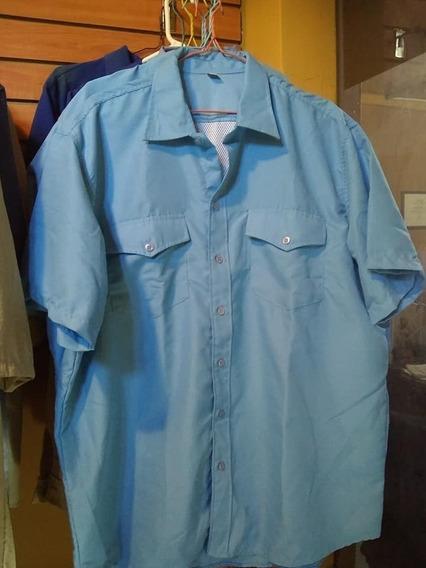 Dos Camisas De Caballero Tela Oxfort Tipo Ejecutivo Azules