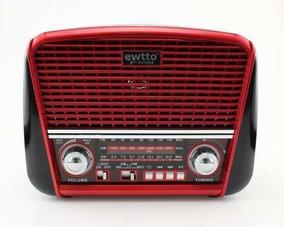 Radio Retro Bluetooth Am Fm Sw Vintage Recarregavel Usb Sd