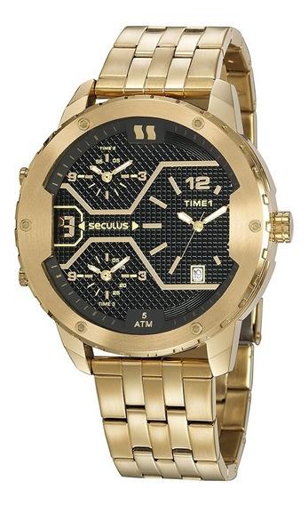 Relógio Dourado Dual Time Masculino Seculus 20886gpsvda1