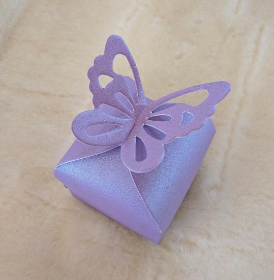 Cajas Souvenir Mariposa Metalizada Bodas Cumples Bombones