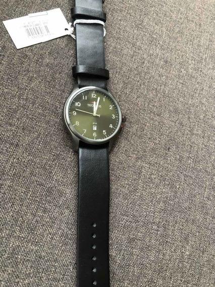 Relógio Technos Pulseira Couro Mostrador Verde Militar