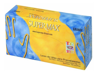 Luva Para Procedimento De Látex Supermax Com 100 Unidades