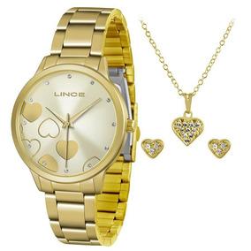 Relógio Brincos Cordão Feminino Lince Lrgh078l Nota Fiscal