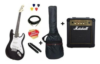 Guitarra Eléctrica Strato Onas Bk + Marshall + Accesorios
