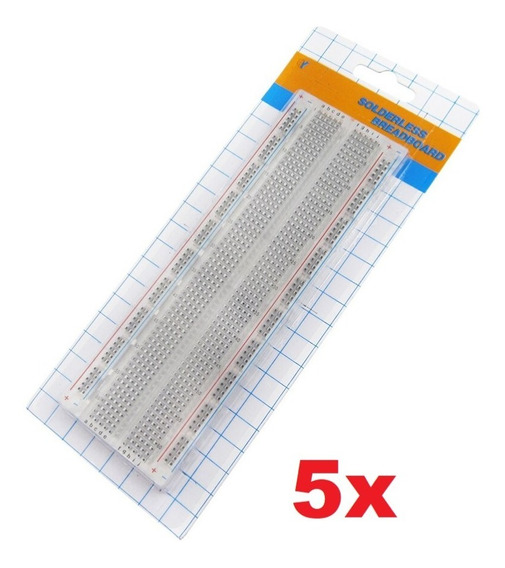 Kit 5x Protoboard Breadboard 830 Pontos Transparente Arduino