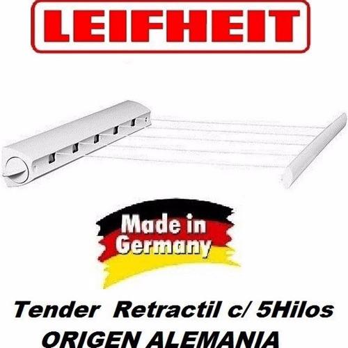 Imagen 1 de 10 de Tendedero Tender Extensible Retractil Enrollable Leifheit - De Pared - Seca Ropa - Hay Stock