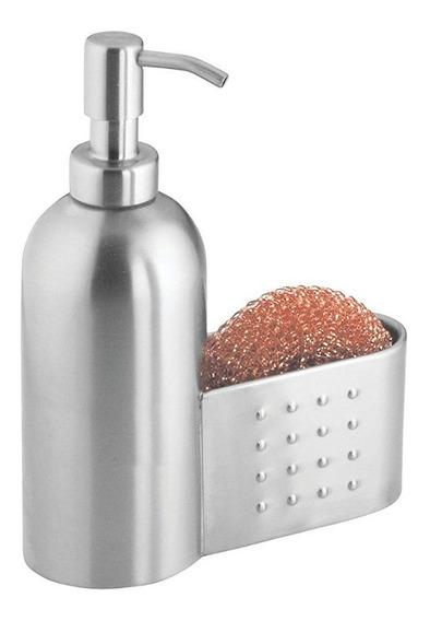 Metal Blanco 7.95x18.11x21.29 cm con Organizador Lateral para esponjas para Colocar Junto al Fregadero InterDesign Bomba dosificadora de jab/ón l/íquido