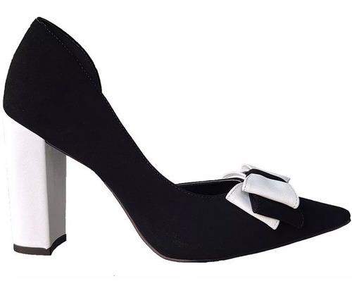 d5b1a09a7 Sapato Feminino Salto Alto Bicolor Preto Branco Cód 432 - R$ 169,00 ...