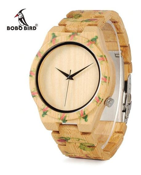 Relógio Feminino Madeira Analógico Bobo Bird D21 - Lindo