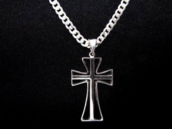Corrente Prata Maciça 925 Masculina 60 Cm Pingente Crucifixo