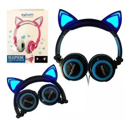 Fone De Ouvido Cat Orelha De Gato Com Led Headfone