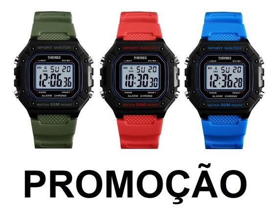 Relógio Digital Masculino Skmei 1496 Esportivo Militar Retro