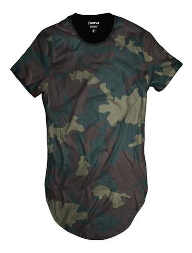 Imagem 1 de 2 de Camiseta Longline Exército Verde Camuflada