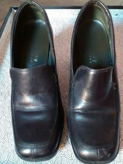 Zapatos Cuero Negro Mujer